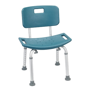 Drive Medical Bathroom Safety Shower Tub Bench Chair, With Back, Teal