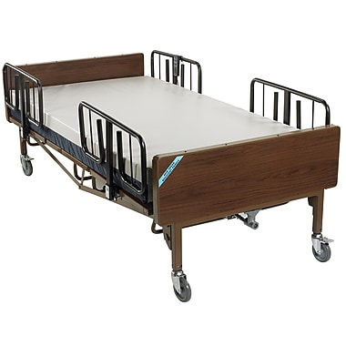 Drive Medical Full Electric Super Heavy Duty Bariatric Hospital Bed, Mattress and 1 Set of T Rails
