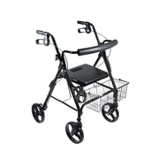 Drive Medical DLite Rollator Walker with 8 Wheels and Loop Brakes, Midnight Black