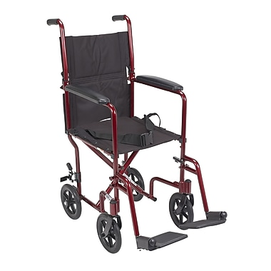 Drive Medical Lightweight Transport Wheelchair, Red, 17