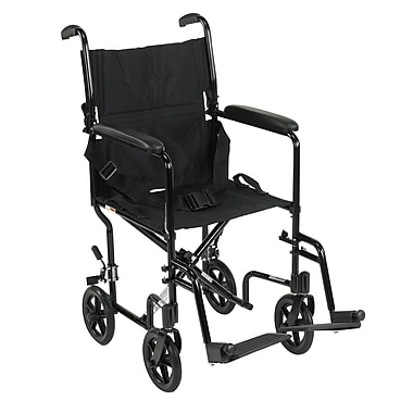 Drive Medical Lightweight Transport Wheelchair, Black, 19