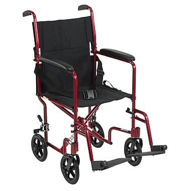 Drive Medical Lightweight Transport Wheelchair, Red, 19