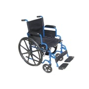 Drive Medical Blue Streak Wheelchair with Flip Back Desk Arms, 18 Seat, Swing Away Footrest