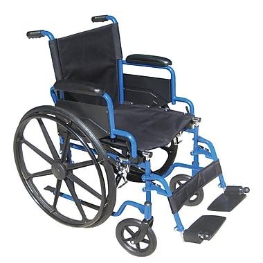 Drive Medical – Fauteuil roulant bleu avec appuis-bras mobiles, siège de 20 po avec repose-pieds pivotants