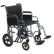 "Drive Medical Bariatric Transport Wheelchair with Swing Away Footrest, Blue, 22"" Seat"