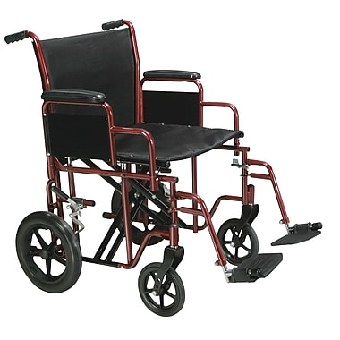 Drive Medical Bariatric Transport Wheelchair with Swing Away Footrest, Red, 20