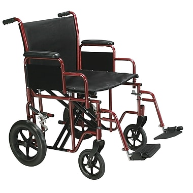 Drive Medical Bariatric Transport Wheelchair with Swing Away Footrest, Red, 22