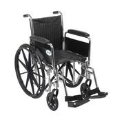 "Drive Medical Chrome Sport Wheelchair, Detach Full Arm, Footrest, 16"""