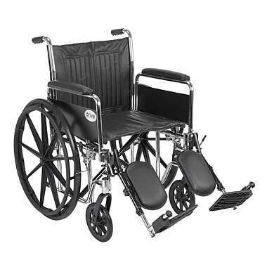 Drive Medical Chrome Sport Wheelchair, Detach Full Arm, Legrest, 20