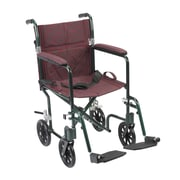 "Drive Medical 19"" Flyweight Lightweight Transport Wheelchair, Green Frame, Burgundy Chair"