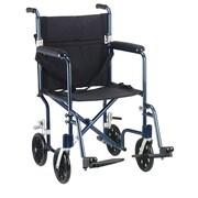 """Drive Medical 17"""" Flyweight Lightweight Transport Wheelchair, Blue Frame, Black Chair"""