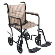 "Drive Medical 17"" Flyweight Lightweight Transport Wheelchair, Black Frame, Tan Plaid Chair"