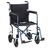 "Drive Medical 19"" Flyweight Lightweight Transport Wheelchair, Blue Frame, Black Chair"