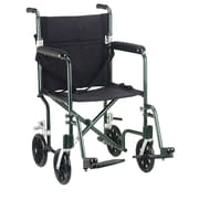 "Drive Medical 19"" Flyweight Lightweight Transport Wheelchair, Green Frame, Black Chair"