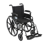 """Drive Medical Viper Wheelchair with Flip Back Removable Arms, Adj Desk Arms, Footrest, 18"""""""