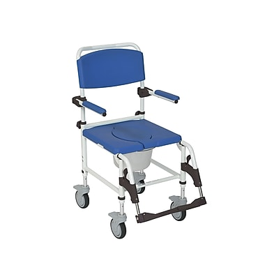 Drive Medical Aluminum Shower Commode Mobile Chair, Transport Chair