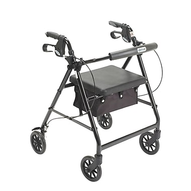 Drive Medical Rollator Walker with Back Support and Padded Seat, Black