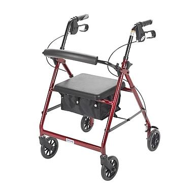 Drive Medical - Rollator avec dossier et siège rembourré, rouge