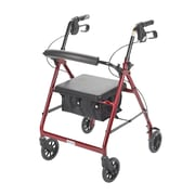 Drive Medical Rollator Walker with Back Support and Padded Seat, Red