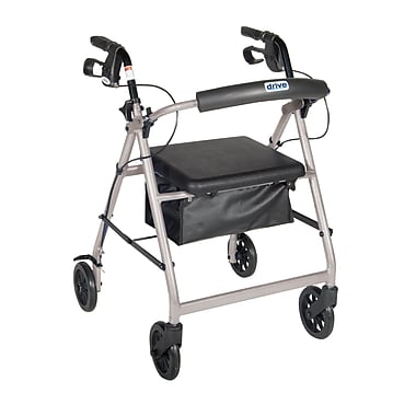 Drive Medical Rollator Walker with Back Support and Padded Seat, Silver