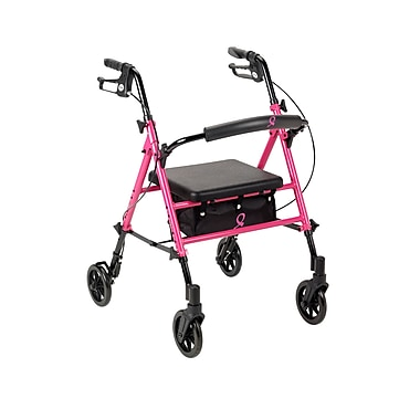 Drive Medical Breast Cancer Awareness Adjustable Height Pink Rollator