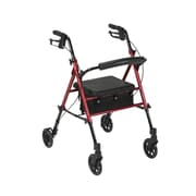 "Drive Medical Adjustable Height Rollator with 6"" Wheels, Red"
