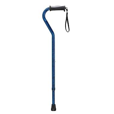 Drive Medical Adjustable Offset Handle Cane with Gel Hand Grip, Blue Crackle