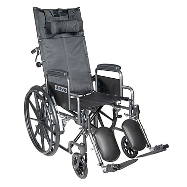 Drive Medical Silver Sport Reclining Wheelchair w/ Detachable Desk Length Arms and Legrest, Seat 18