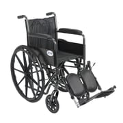"Drive Medical Silver Sport 2 Wheelchair, Fixed Arms, Legrest, 18"" Seat"
