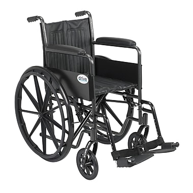 Drive Medical Silver Sport 2 Wheelchair, Fixed Arms, Footrest, 18