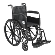"Drive Medical Silver Sport 2 Wheelchair, Fixed Arms, Footrest, 16"" Seat"