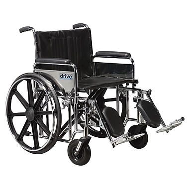 Drive Medical Sentra Extra Heavy Duty Wheelchair, Full Arms, Legrest, 24
