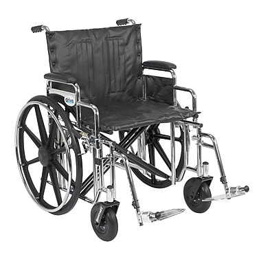 Drive Medical Sentra Extra Heavy Duty Wheelchair, Desk Arms, Footrest, 22
