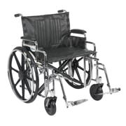 """Drive Medical Sentra Extra Heavy Duty Wheelchair, Desk Arms, Footrest, 24"""""""
