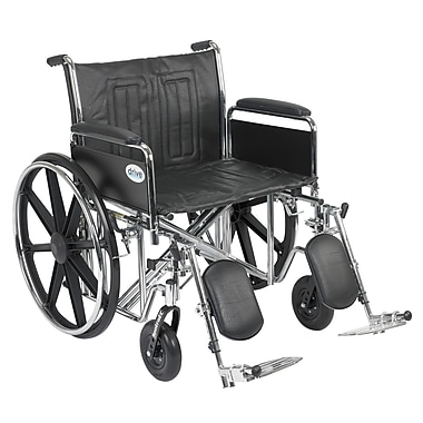 Drive Medical Sentra EC Heavy Duty Wheelchair, Full Arms, Legrest, 24