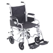 Drive Medical Poly Fly Transport Chair with Swing away Footrest, 18 Seat Size