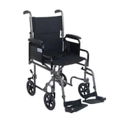 "Drive Medical Lightweight Steel Transport Wheelchair, Detachable Desk Arms, 17"" Seat"