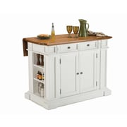 "Home Styles 36.5"" Asian Hardwood Kitchen Island, Distressed Oak Finish"