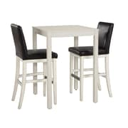 Home Styles Nantucket 3 Pieces Small White Pub Metal, Upholstered & Wood Bistro Sets