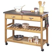 Home Styles 36 Solid Hardwood  Cart with Stainless Steel Top