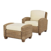 Home Styles Cabana Banana Chair & Ottoman Mahogany Hardwoods & Woven Banana Leaves