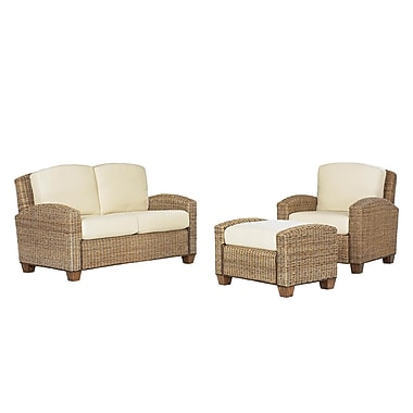 Home Styles Ottoman and Love Seat Mahogany Hardwoods and Woven Banana Leaves Cabana Chair