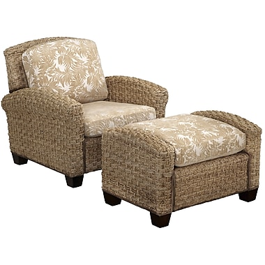 Home Styles Cabana Banana II Fabric Mahogany Wood Chair & Ottoman in Honey Finish