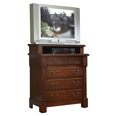 Home Styles Aspen Collection Media Chest Wood & Metal Standard chest ,Rustic Cherry