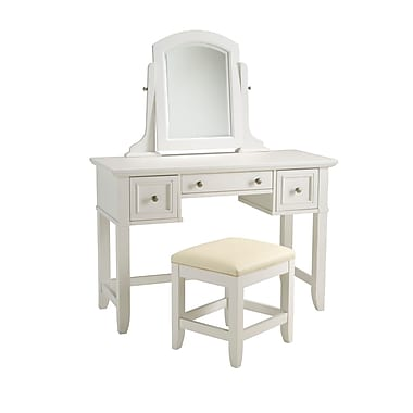 Home Styles Naples Vanity Hardwood Solid Table and Bench