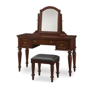 Home Styles Lafayette Vanity Table and Bench, multi-step Cherry finish