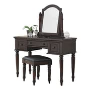 Home Styles Bermuda Brass Glass Veneer Vinyl Mirror & Bench