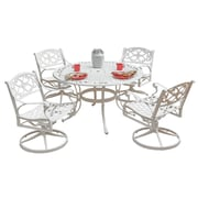 """Home Styles 48"""" Aluminum Biscayne 5 Piece Outdoor Dining Set with Round Table and Swivel Chair"""