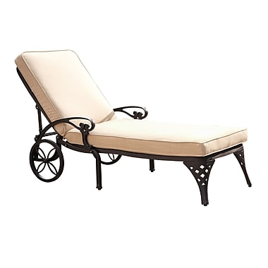 Home Styles Biscayne Chaise Cast Aluminum Lounge Chair with Cushion