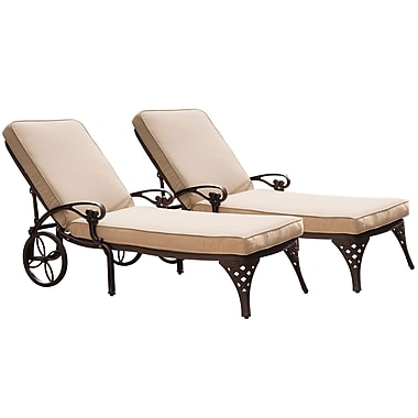 Home Styles Biscayne Cast Aluminum Chaise Lounge Chairs